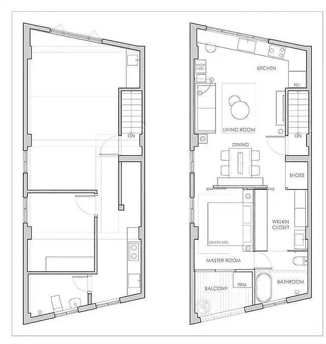 50㎡阁楼梯形单身公寓 开放式设计很通透
