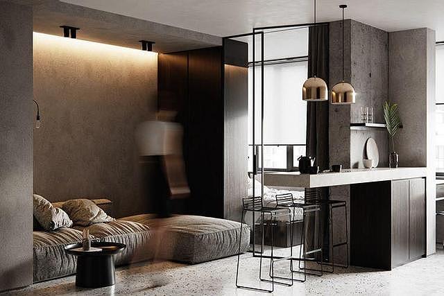 小户型潮流混凝土工业风装修 打造紧凑型公寓设计