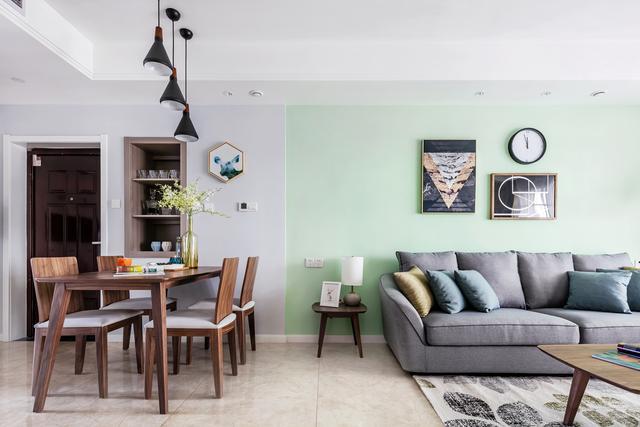 110㎡三室一厅简单装修 高级灰&淡青色结合好时尚