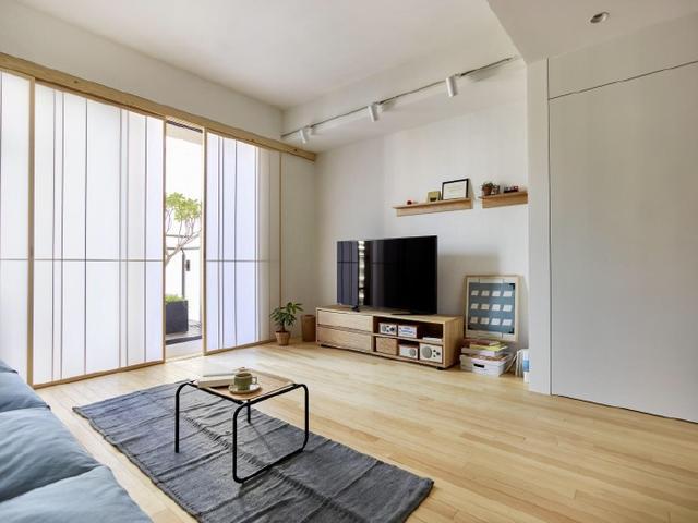 80㎡簡約兩室 紫灰色+木色搭配 不可描述的美