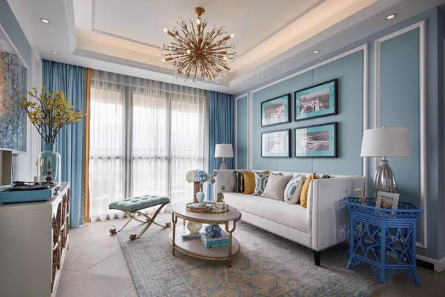 130㎡美式风格装修 淡蓝色的餐厅格外浪漫唯美!