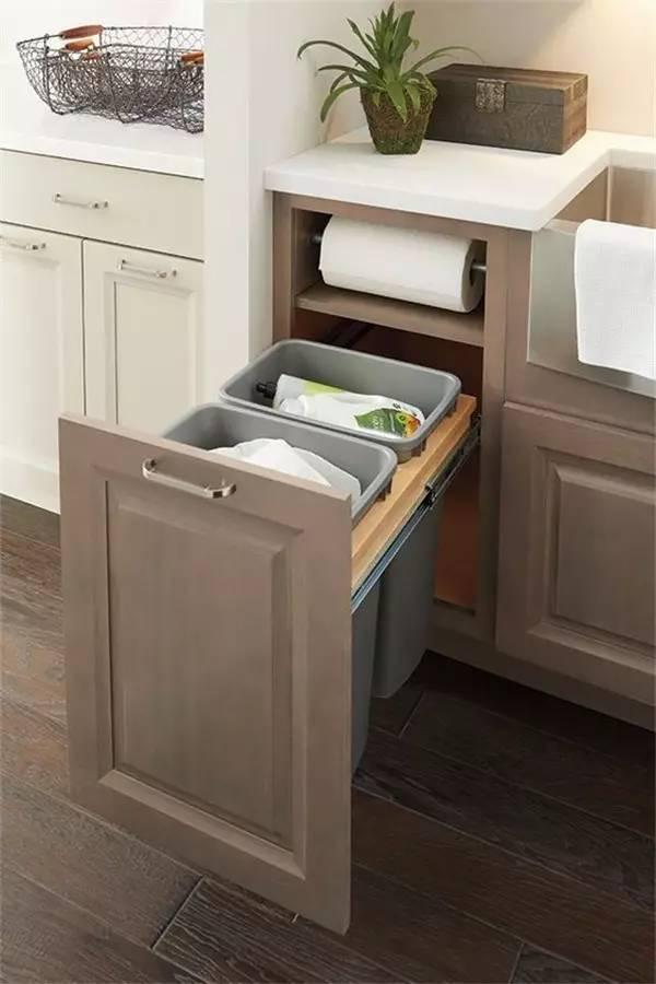 垃圾桶装橱柜里好不好 来看看他们家的怎么样