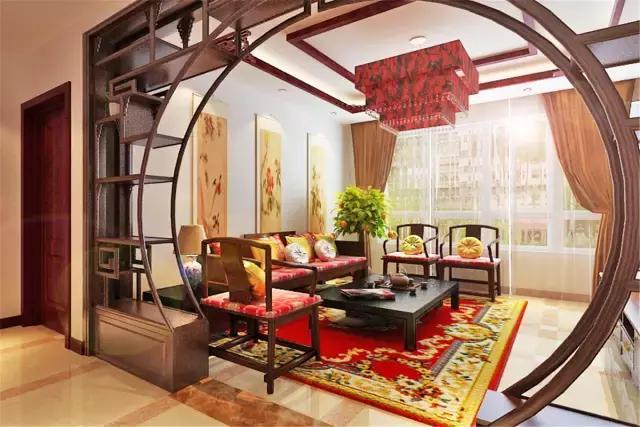红红火火94㎡中式三居 博古架隔断这样装家里多出5㎡