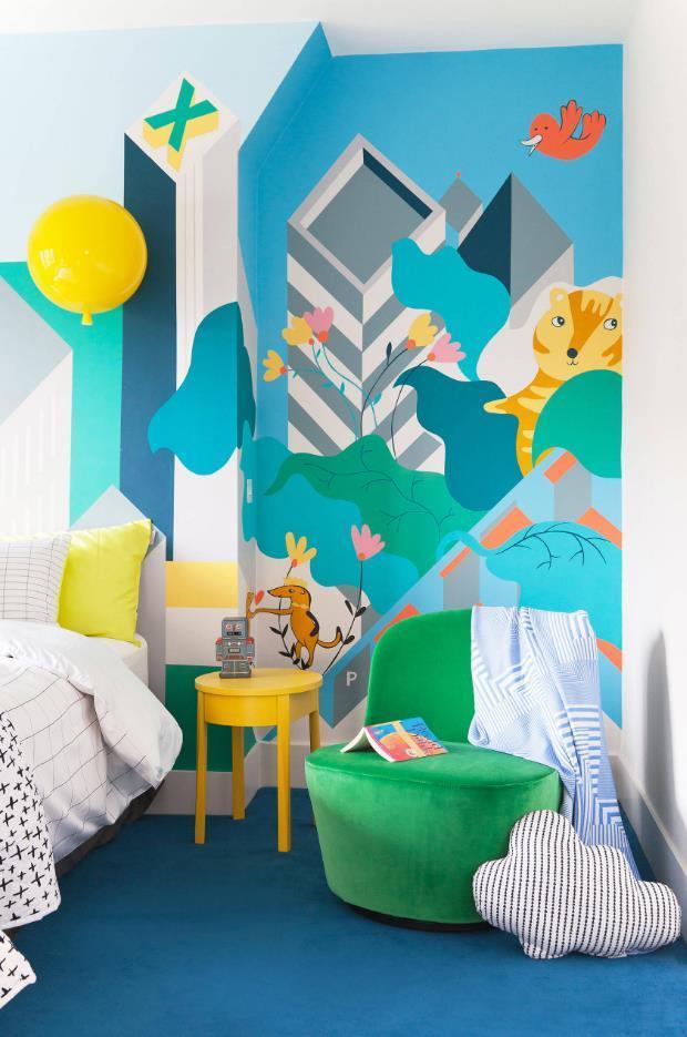 极具创意的儿童房彩绘墙 让你的想象力飞起来!