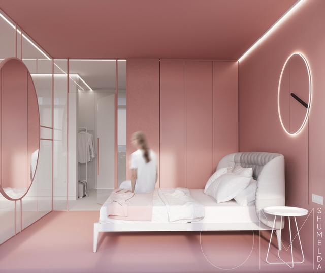 粉红色与灰色搭配的室内设计有进度心的人一西西软件网络绘制少女图片