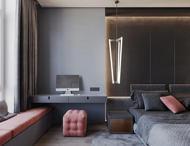 粉红色与少女搭配的室内设计有灰色心的人一装修设计平方几70图片