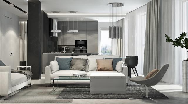 黑、白、红三色主打的现代家居装饰设计