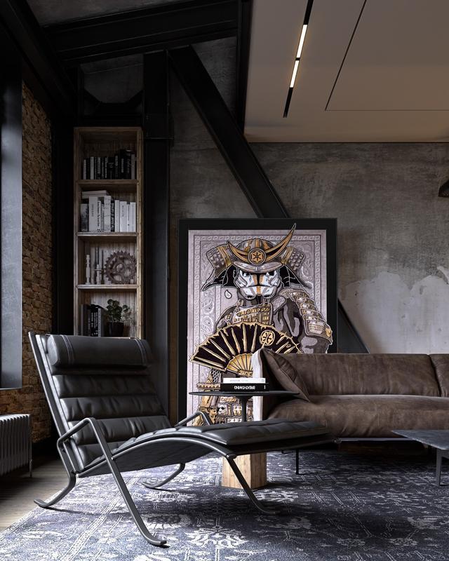 一号公寓的工业家居装饰被一条条光线穿透,光线穿过天花板,向上推图片