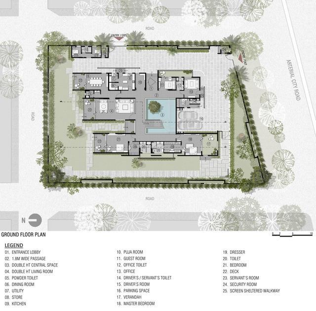 一楼平面图,花园和庭院布局,以及停车场.