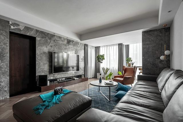 120平三房两厅案例,黑白灰轻奢家装,高雅不浮夸