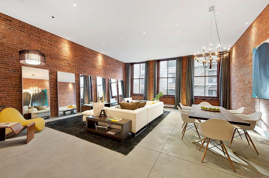 砖墙与现代室内装饰的结合 客厅独特优雅又个性十足
