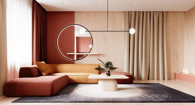 两个由红色、橙色和金色交织而成的现代家居设计