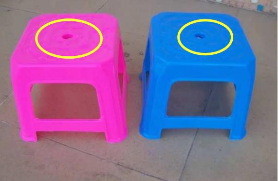 塑料凳子中间怎么有一个小孔 现在知道还不晚