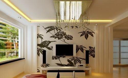 欧式电视墙     电视背景墙搭配tips:简欧气质,黑色镜面搭配米色