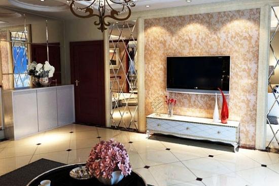 卧室背景墙 欧式卧室背景墙装修效果图 菱形的世界,从地板到电视柜到电视背景墙的装饰都运用到了菱形的格纹元素。 今后只需要动动手指头,随时随地都能够轻松学习最新装修设计案例、最前沿时尚的设计信息,为您的家增添更多精彩。
