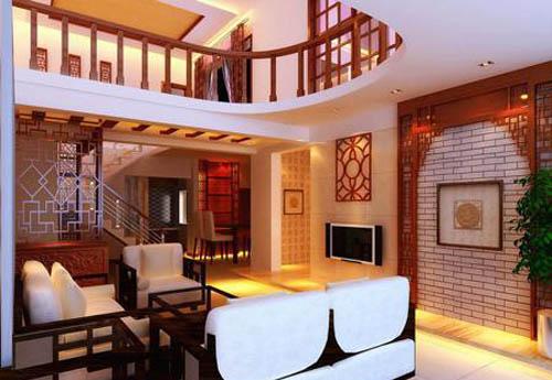 电视背景墙是一道亮点,仿中国古代庭院的红木装饰搭配白色砖纹墙面