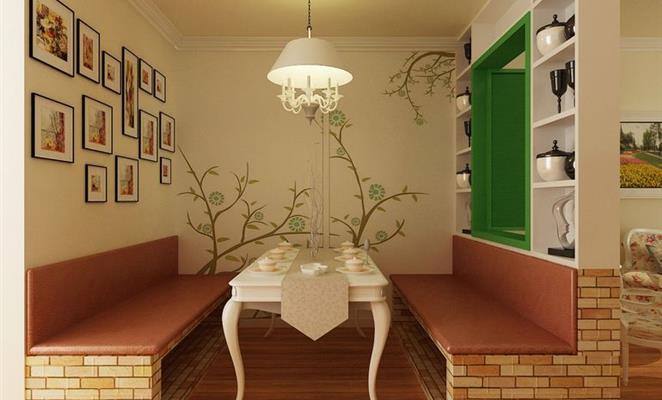 客厅:电视背景墙木地板上墙,沙发背景墙简单的挂点画