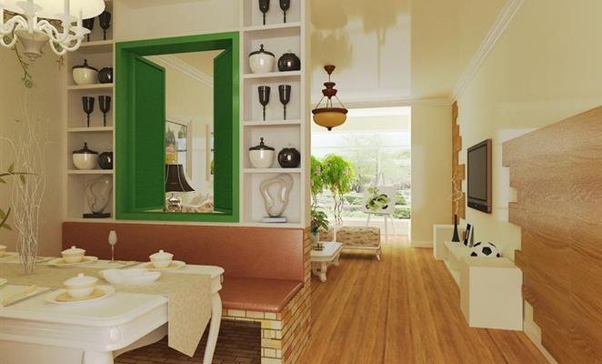 客厅:电视背景墙木地板上墙