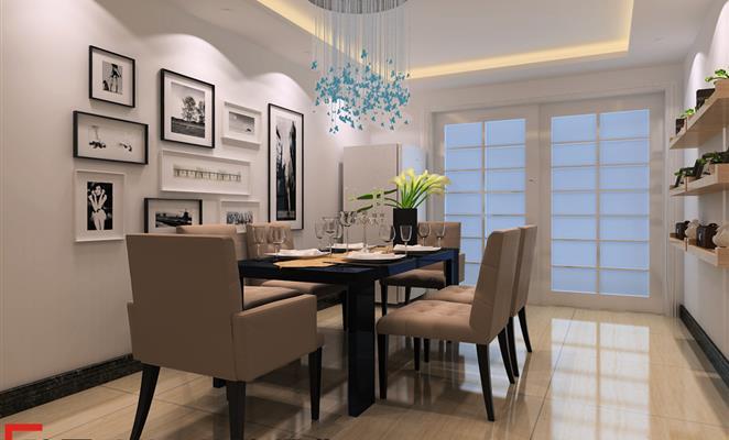 本案设计为简约风格,用亮光砖,黑镜,色漆等少量设计