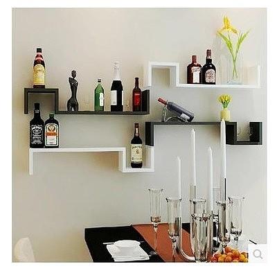 墙面置物架 墙上装饰架 客厅餐厅沙发墙挂架酒架壁柜s形隔板书架