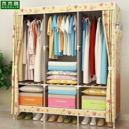 柜子衣柜简易衣柜布衣柜大号实木布艺折叠牛津布组装双人加固特价