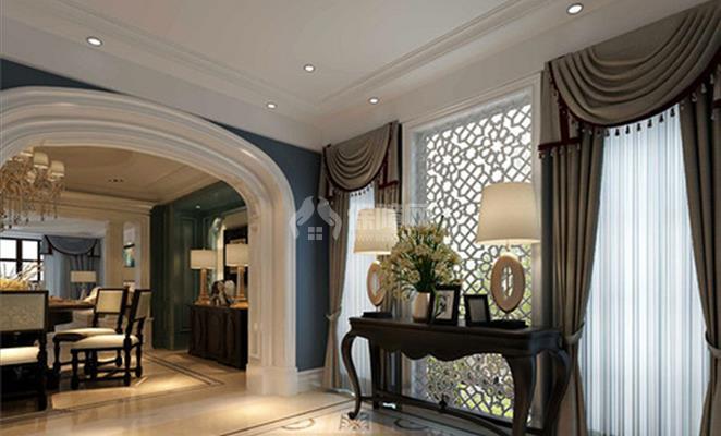玄关吊顶白色灯具 玄关最突出的便是花朵造型的镂空窗,形态优美,在