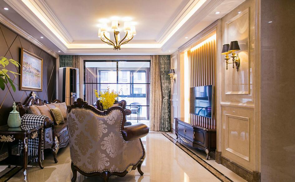 美式室内三居室家居装修效果图图片