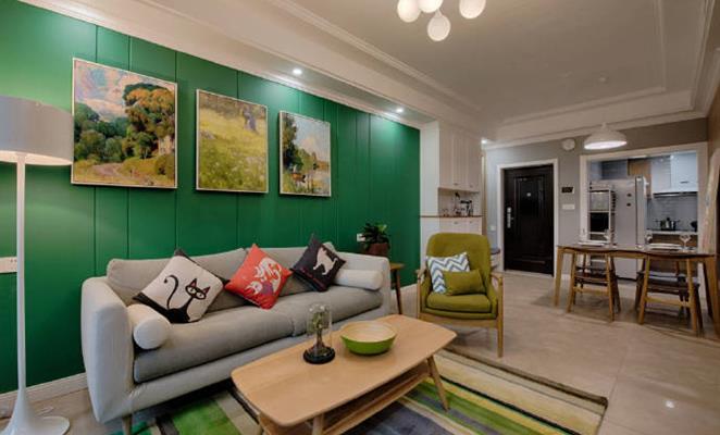 点赞 收藏 免费户型设计免费获取报价 客厅沙发背景墙绿色涂料枕芯 点图片