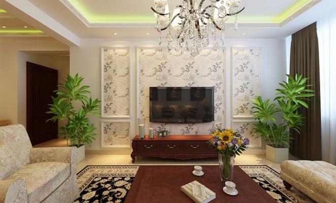 免费户型设计免费获取报价 欧式简约 客厅背景墙米色灯具窗帘 欧式