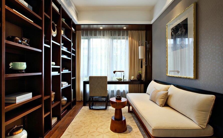 120平新中式风格家装设计书房效果图图片