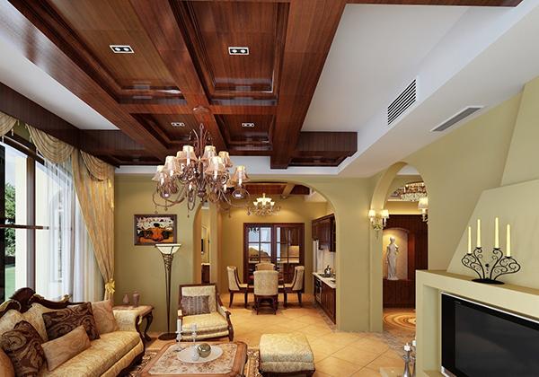 该房屋的厨房之间的隔断造型选用了非常具有美式乡村风格的拱门.图片