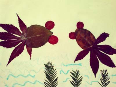 家居diy 树叶粘贴画图片大全 跟孩子一起动手吧