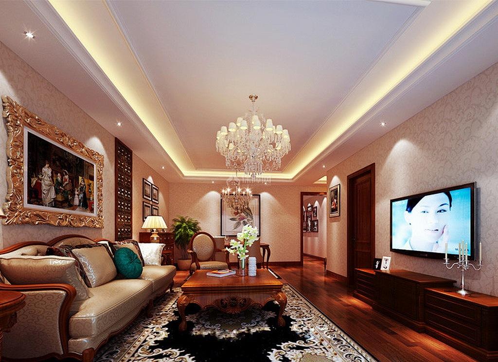 美式格调优雅客厅装饰效果图
