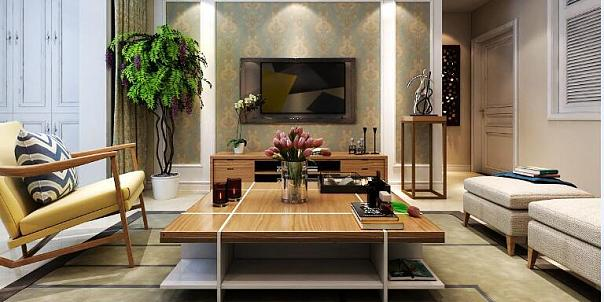 现代简约101平米二居室效果图