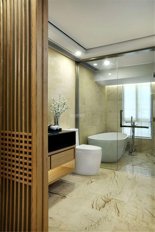 中式风格三居室装饰卫生间效果图
