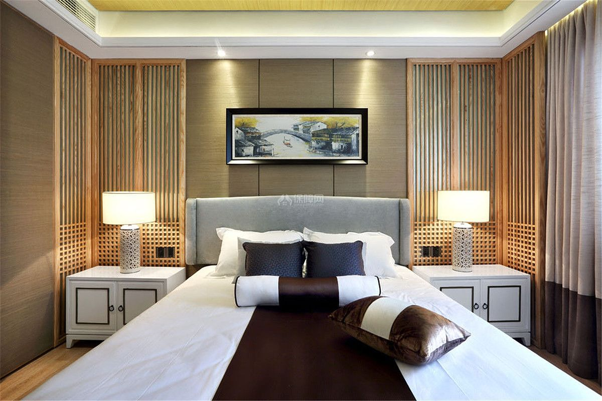 中式风格三居室装饰卧室图片