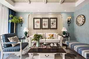280平地中海別墅客廳沙發擺放效果圖