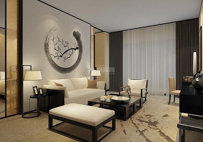 河北新中式酒店包间客厅效果图