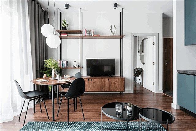 灰蓝现代小空间简约风格 气质里透着艺术的味道