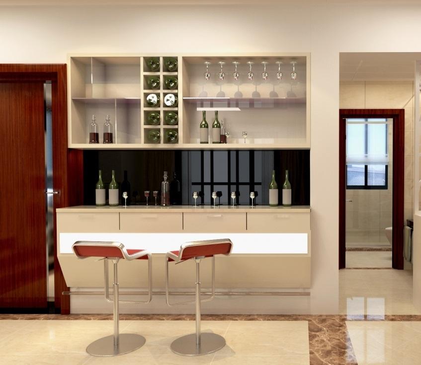 酒柜会给人一种低调不失奢华的感觉,这一款玄关隔断装修效果图采用的
