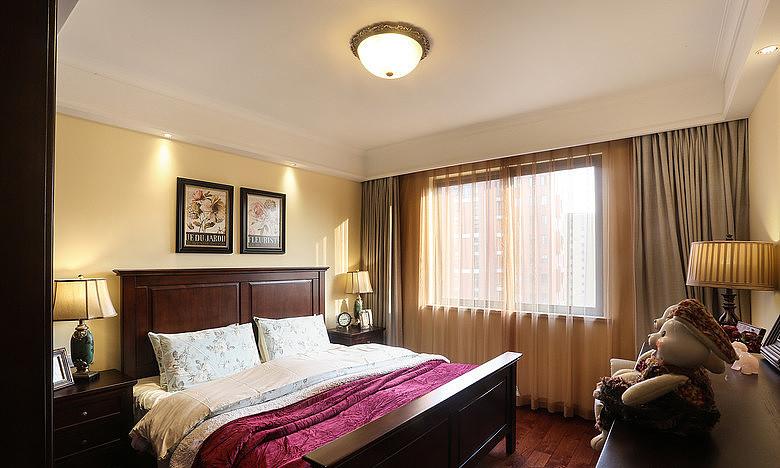 139平美式复古装修卧室效果图