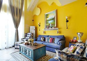 田园混搭风格客厅背景墙设计
