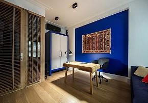 109平现代美式风格书房背景墙图