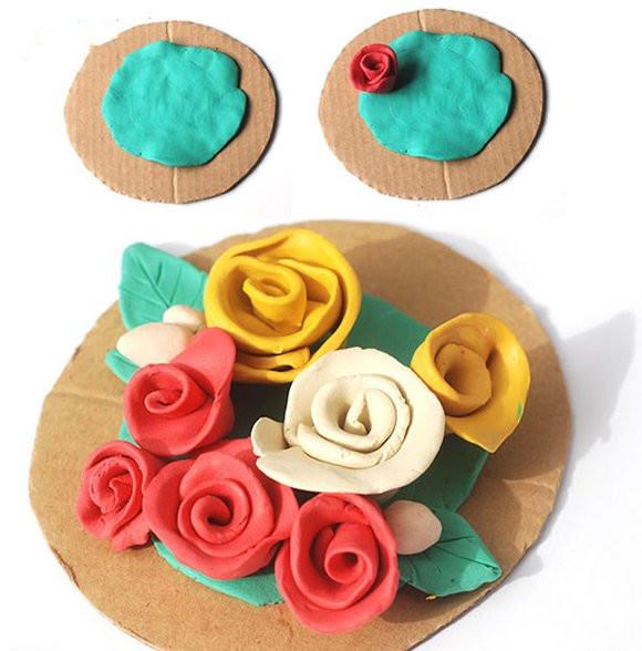 手工diy:橡皮泥玫瑰花的做法 自制母親節禮物圖片