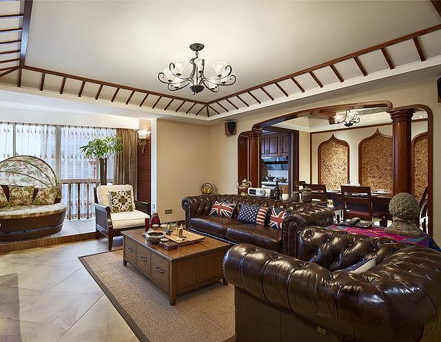 160平米三居室东南亚装修 格调满满的原木风