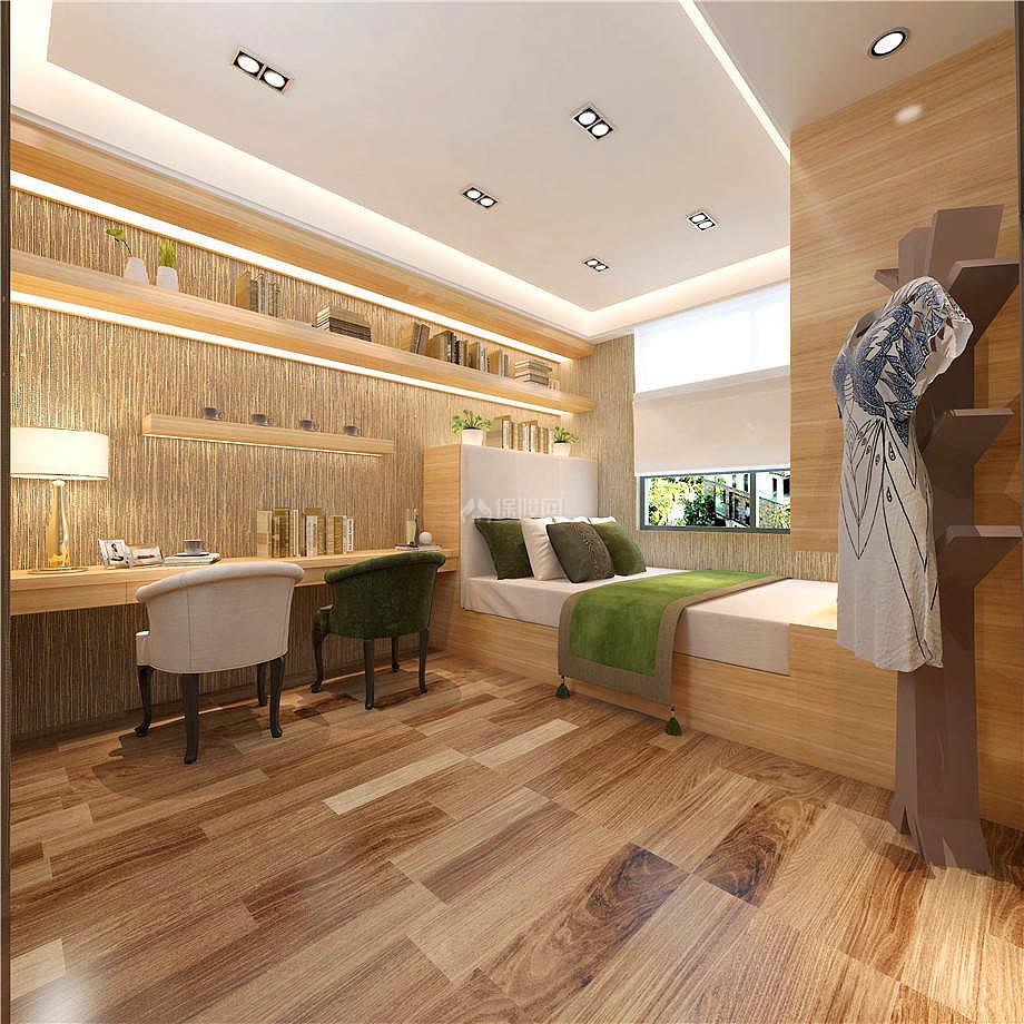 108㎡时尚简约两居之书房床设计效果图