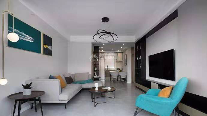 84㎡现代简约两居之客厅装修布置效果图