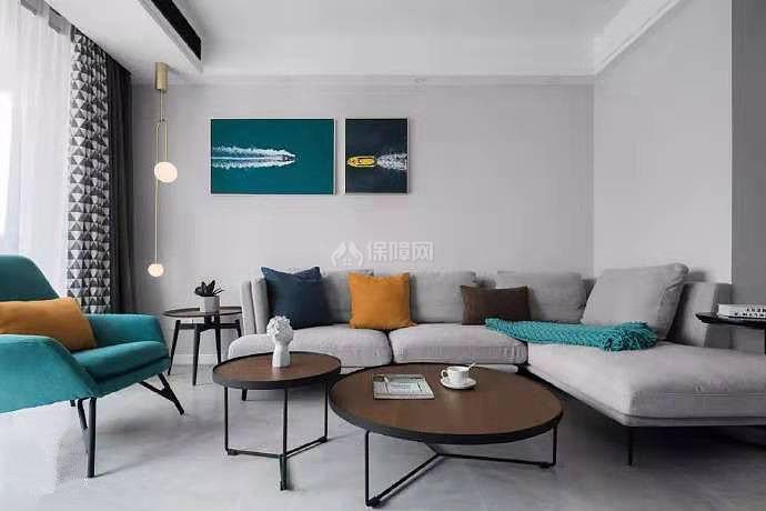84㎡现代简约两居之沙发摆放效果图