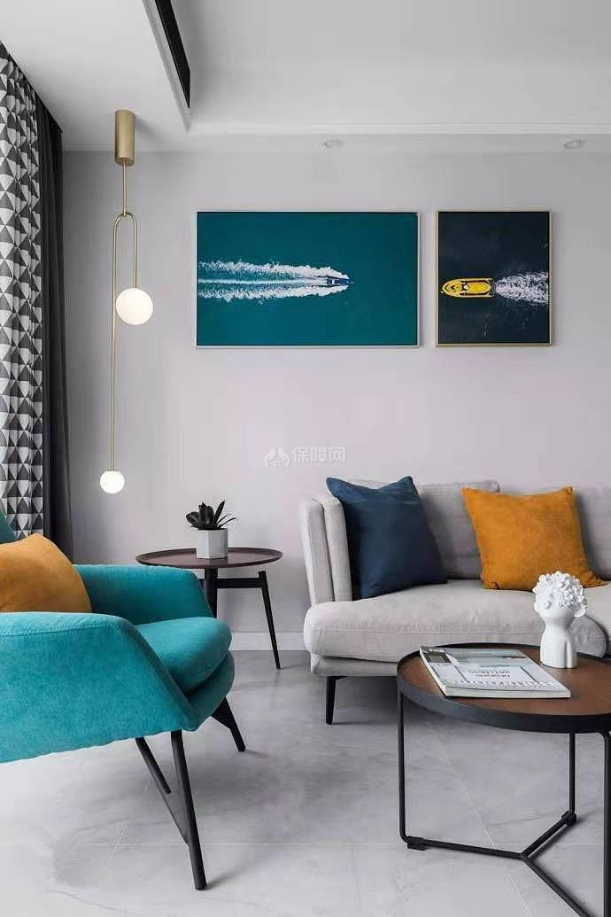 84㎡现代简约两居之沙发背景墙装饰画效果图