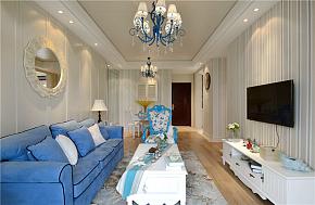 110㎡田园公寓之客厅整体装修布置效果图